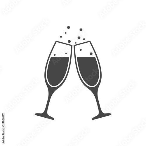 Fotografija Champagne glass icon, Champagne Toast Icon - Illustration
