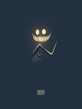 Happy Halloween Vector Illustration Card With Monster Glowing In The Dark Night, His Hand With Creepy Fingers And Mouth Full Of Scary Teeth. Party Invitation Card Template.