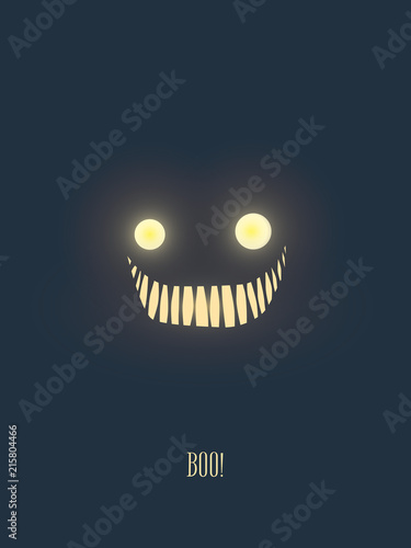 Fototapeta Halloween party invitation card template with scary but friendly monster face glowing in the dark night