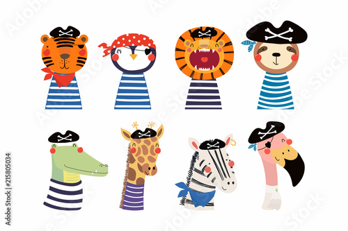 Deurstickers Illustraties Set of cute funny little animals pirates lion, tiger, zebra, flamingo, penguin, sloth, giraffe, crocodile. Isolated objects on white. Vector illustration. Scandinavian style design. Concept kids print