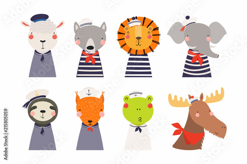 Garden Poster Illustrations Set of cute funny little animals sailors lion, sheep, wolf, frog, moose, squirrel, elephant, sloth. Isolated objects on white. Vector illustration. Scandinavian style flat design. Concept kids print