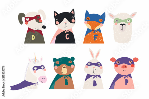 In de dag Illustraties Set of cute funny little animals superheroes cat, bear, unicorn, llama, dog, fox, pig, bunny. Isolated objects on white. Vector illustration. Scandinavian style flat design. Concept for children print