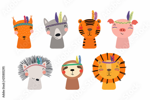 Poster Des Illustrations Set of cute funny little tribal animals lion, tiger, wolf, sloth, hedgehog, pig, squirrel. Isolated objects on white. Vector illustration. Scandinavian style flat design. Concept for children print
