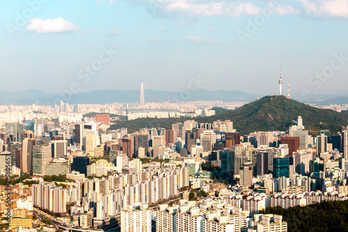 Foto op Plexiglas Seoel Beautiful view of Namsan tower from the Asan Mountain, Seoul, South Korea.