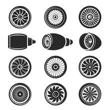 Airplane Turbine Icon Set