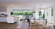 Leinwanddruck Bild - living room in modern luxury villa - wohnzimmer in Luxus Villa