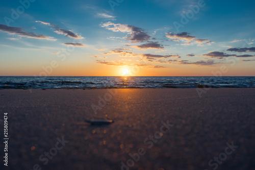 Foto op Aluminium Noordzee Traumhafter Sonnenuntergang Strand Nordsee
