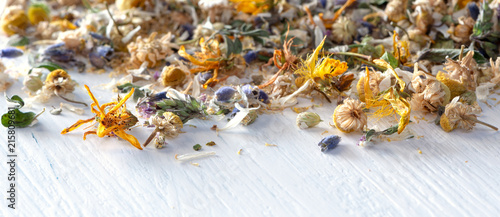 Fototapeta Header or banner for homeopathy/natural pharmacy: mix from dried herbs and blooms on white wooden ground obraz