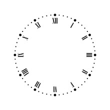 Vintage Clock Face With Roman Numbers. Dots Mark Minutes And Hours. Simple Flat Vector Illustration.