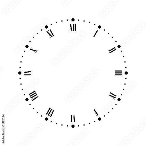 Fototapeta Vintage clock face with Roman numbers. Dots mark minutes and hours. Simple flat vector illustration. obraz