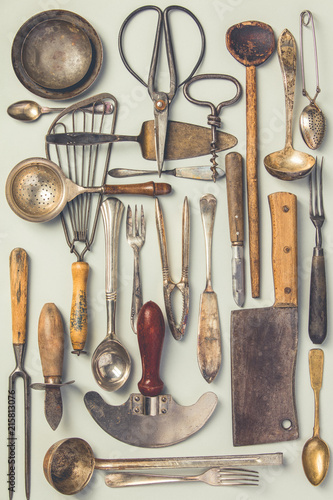 Photo  Collection of old vintage cutlery
