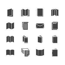 Brochure Flat Glyph Icons. Bus...