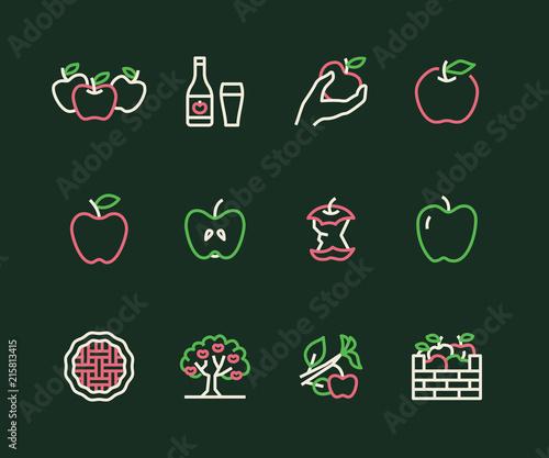 Apples flat line icons Fototapete