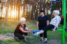 An Elderly Woman On A Sports S...