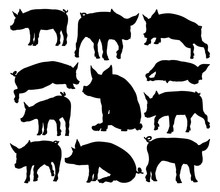 Pig Silhouettes Farm Animal Set