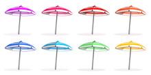 Bright Colorfu Multi-colored Beach Umbrellas Set. Beach Umbrella Side View. Vector Illustration Isolated On White Background