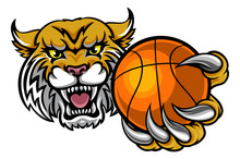 Wildcat Holding Basketball Ball Mascot
