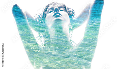 In de dag Spa beauty and sensuality concept - double exposure of beautiful seductive woman and blue sea water over white background