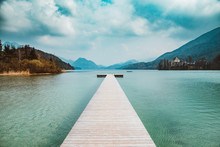 Wooden Pier At Lake Fuschlsee ...