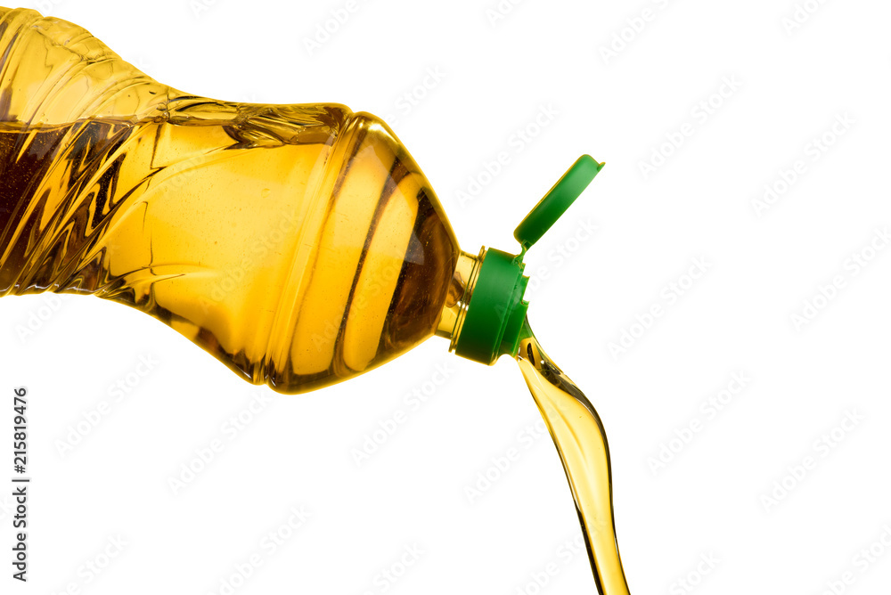 Fototapety, obrazy: Pouring vegetable oil isolated on white background raw food cooking  object design