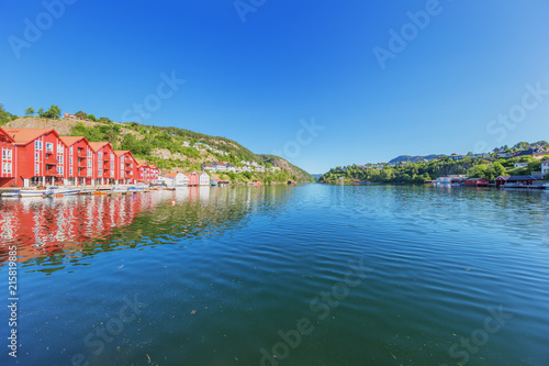 City on the water The waterfront of Flekkefjord fringed with vacation houses