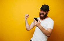 Happy Bearded Man Celebrate Su...