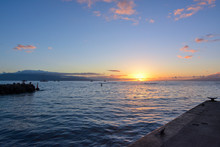 Sunset As Seen From The Marina In Lahaina Harbor On The Island Of Maui, Hawaii.