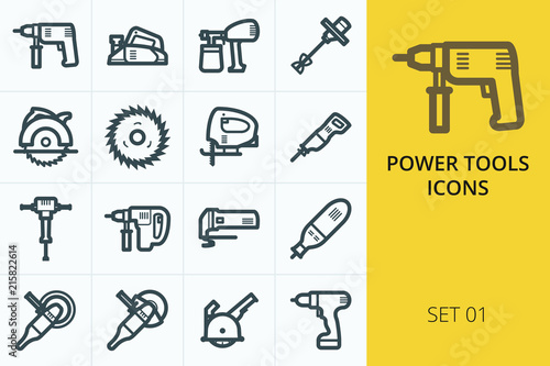 Obraz Power tools icons set - electric drill, planer, saw, grinder, hammer - fototapety do salonu