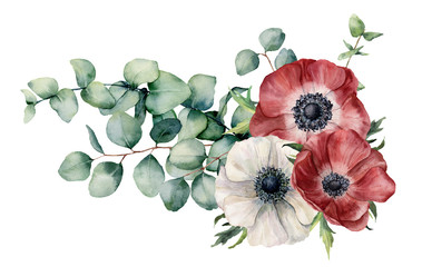 FototapetaWatercolor asymmetric bouquet with anemone and eucalyptus. Hand painted red and white flowers, eucalyptus leaves and branch isolated on white background. Illustration for design, print or background.