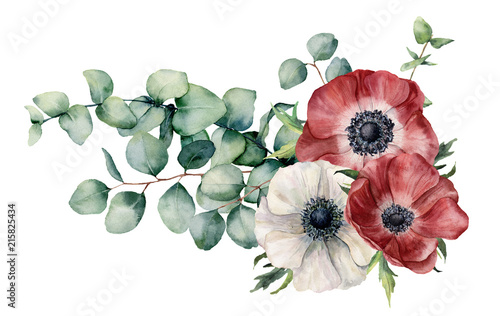 Obraz na płótnie Watercolor asymmetric bouquet with anemone and eucalyptus