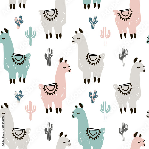 Childish seamless pattern with hand drawn llama in scandinavian style Wallpaper Mural
