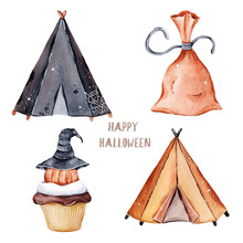 Watercolor Autumn Halidays Halloween Watercolor Clipart Gretting Cards