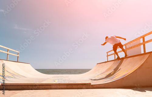 Obraz na plátně the guy skates on a ramp