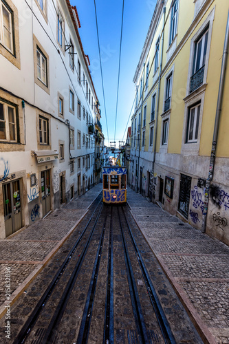 Fototapety, obrazy: Lisbon  - 16 AUGUST 2017: Tram at morning  ,best transportation in city . The popular place for people for travelling in Lisbon capital of Portugal