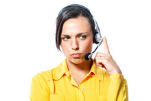 Sullen Call Centre Operator Listening To A Call