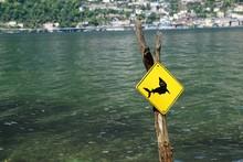 Australische Schilder Mit Warnung In Der Schweiz Auf Der Insel Brissago In Der Nähe Von Ascona