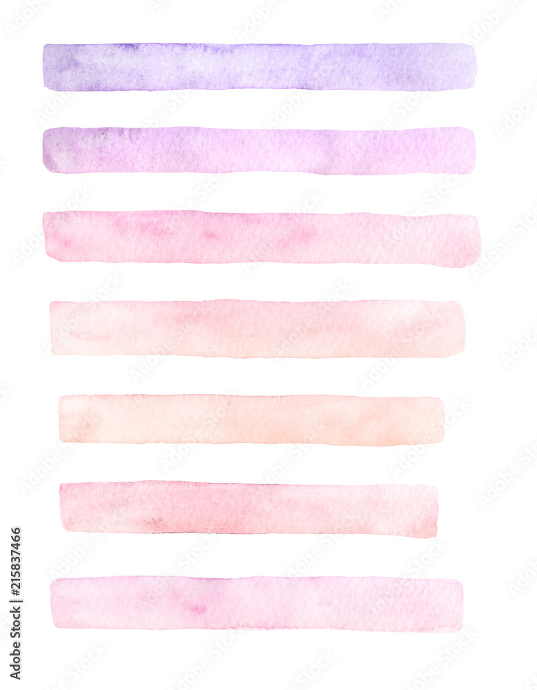 Fototapety, obrazy: Hand drawn watercolor set of brushstrokes of yellow, pink and purple colors isolated on the white background. Pastel brush textures for your design.