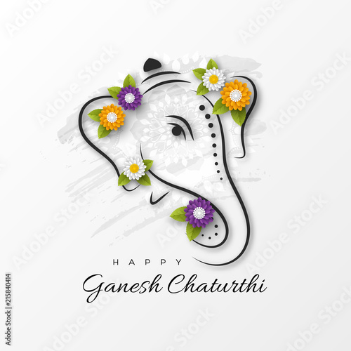 Photo Holiday design for traditional Indian festival of Ganesh Chaturthi