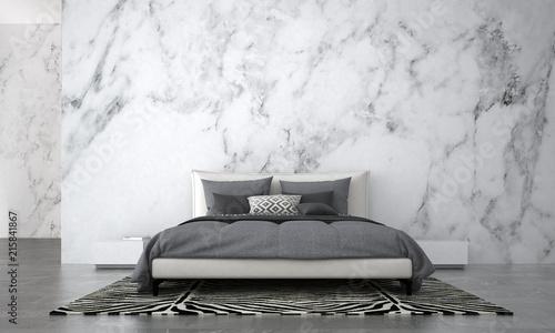 Leinwanddruck Bild - teeraphan : The Modern bedroom interior design and white marble wall texture background