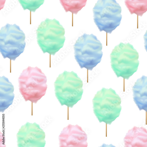 fototapeta na ścianę Realistic Detailed 3d Color Cotton Candy Seamless Pattern Background. Vector