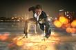 canvas print picture - Geschäftsmann als Superheld
