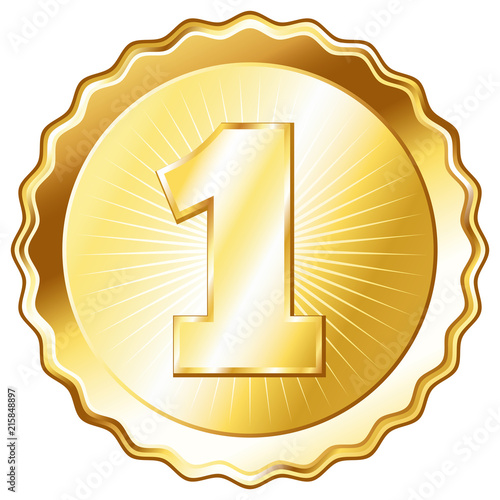 Obraz Gold Plate - Badge with Number 1 - fototapety do salonu