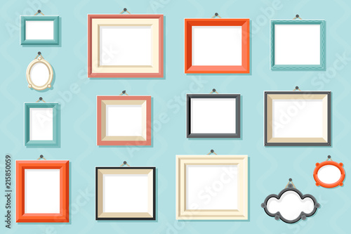 Foto Vintage frame photo picture painting drawing template icons set wall background
