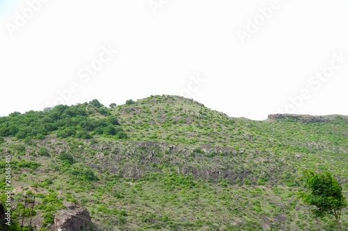 Fotobehang Olijf lush green landscape of mountain and hills in monsoon season, Purandar, Maharashtra, India