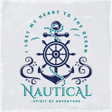 Vector Emblem With Anchor And Steering Wheel. Nautical Illustration.