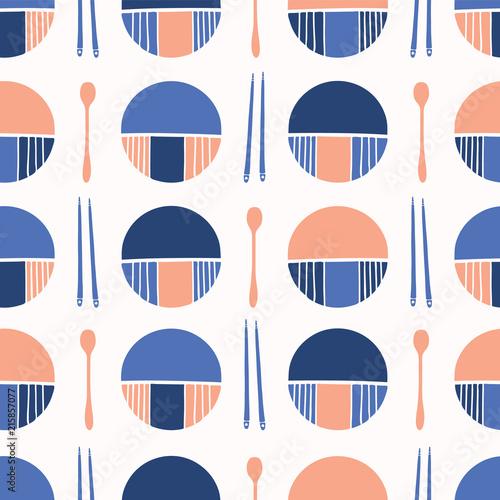 Fotografia, Obraz  Oriental Table Setting Silhouettes Vector Cutlery Plate Pattern Seamless, Styliz