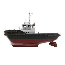 Harbour Tug Boat On White. 3D Illustration