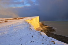 Snow Covered Beachy Head And Lighthouse, Eastbourne Downland Estate, Eastbourne, East Sussex