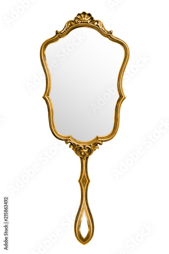 Fotomural Vintage hand mirror isolated on white, included clipping path