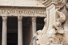 Fontana Del Pantheon Fountain At Piazza Della Rotonda Square, Pantheon, Rome, Lazio